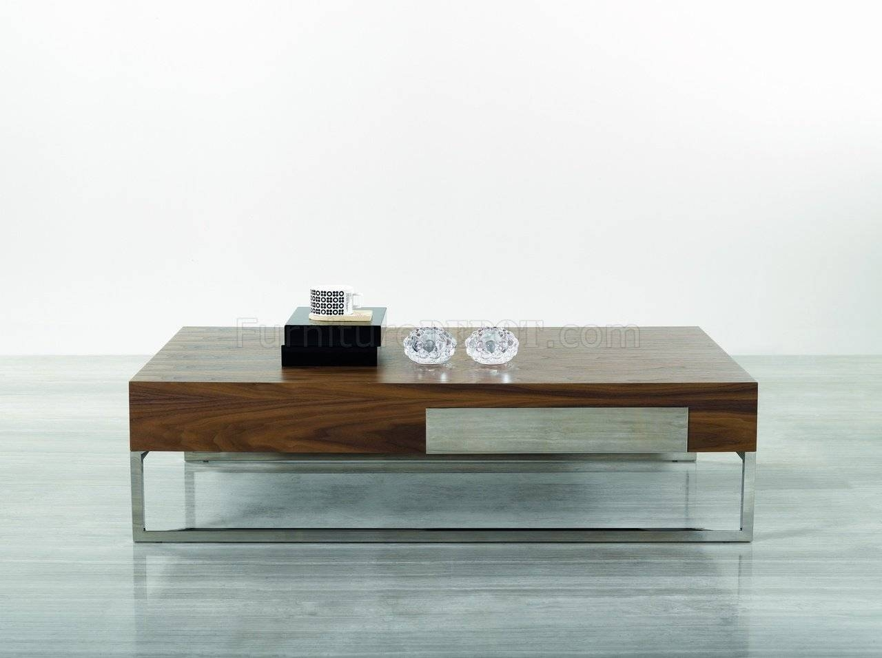 107A Coffee Tablej&m W/chrome Legs within Chrome and Wood Coffee Tables (Image 1 of 30)
