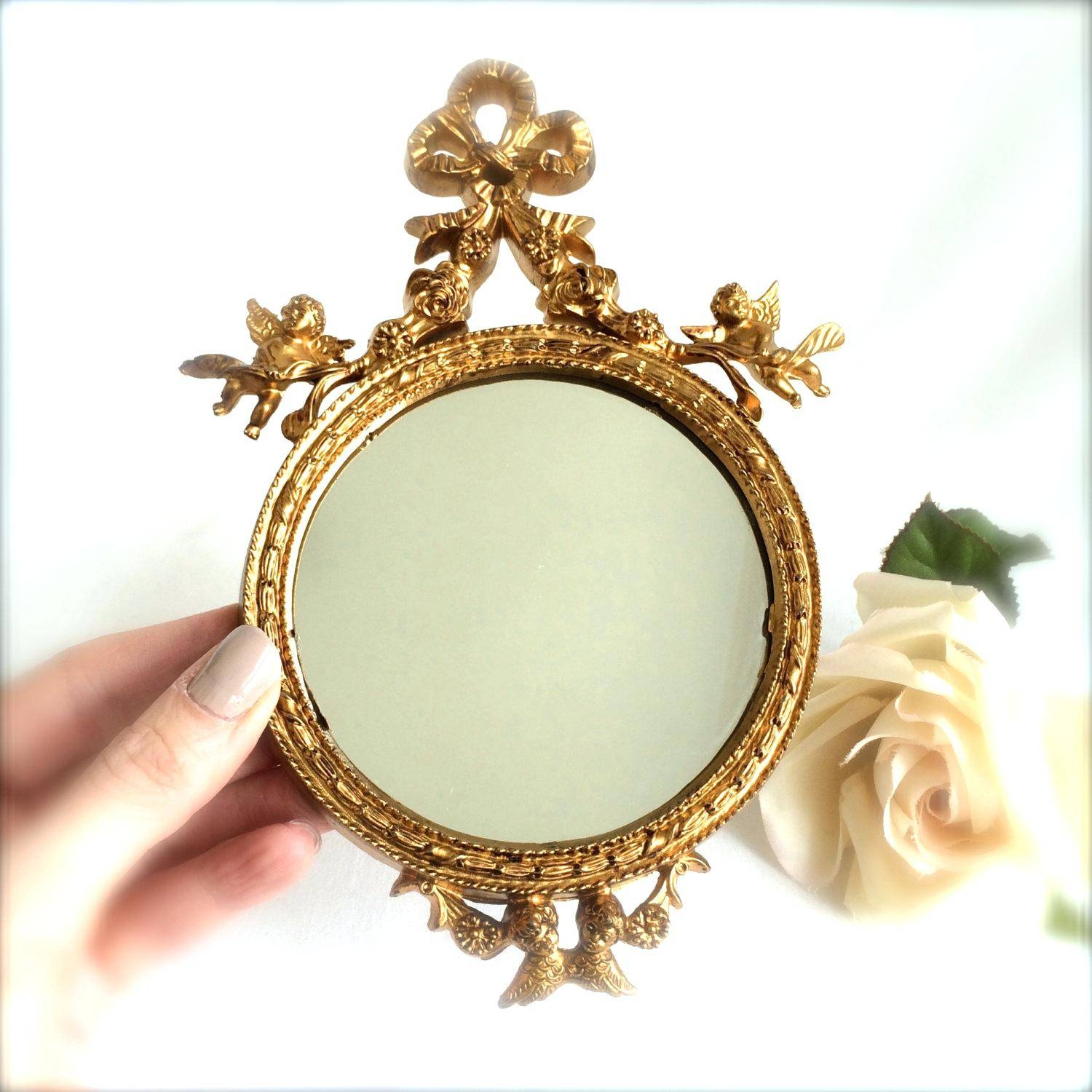 11 H Mirror Gold Oval Italian Vintage Decorative Upcycle Ornate Within Ornate Wall Mirrors (View 1 of 25)
