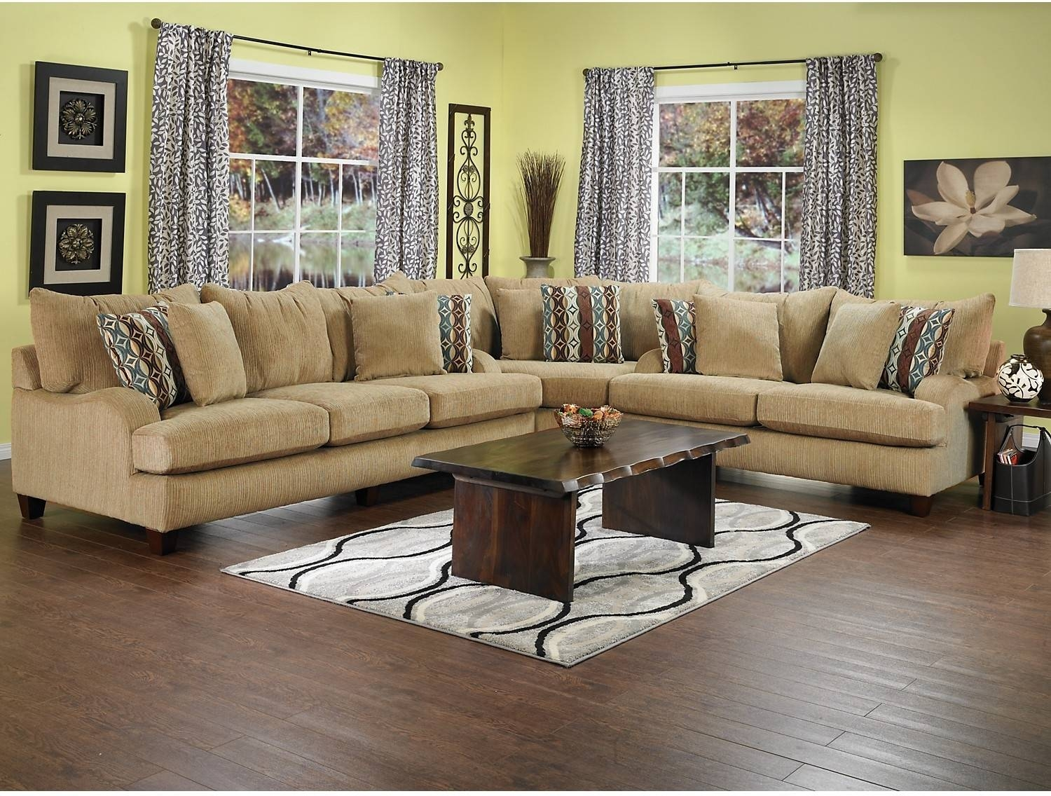 12 Collection Of Chenille Sectional Sofas intended for Chenille and Leather Sectional Sofa (Image 3 of 30)
