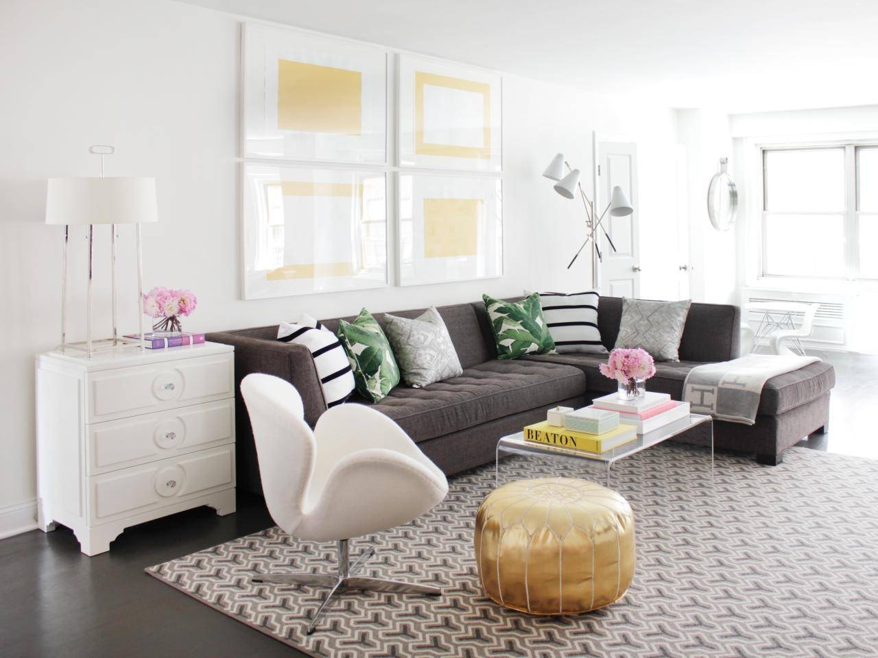 12 Living Room Ideas For A Grey Sectional | Hgtv's Decorating in Decorating With A Sectional Sofa (Image 1 of 30)