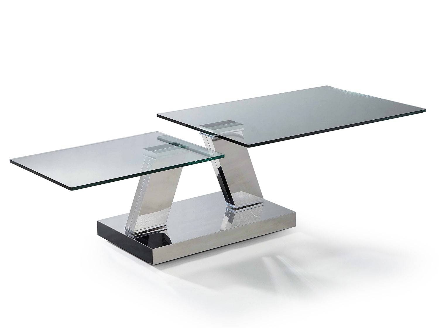 1290554 Leg Contemporary Rectangular Glass Coffee Table Coffee with Modern Chrome Coffee Tables (Image 1 of 30)
