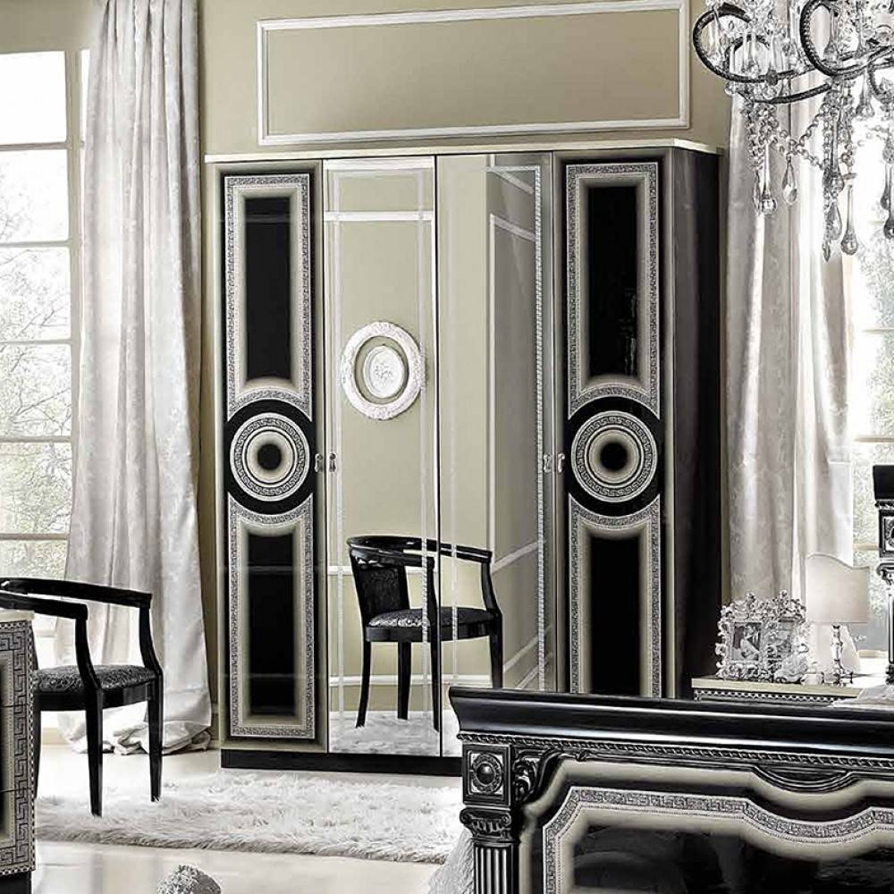 $1,319.00 Aida 4-Door Wardrobe In Black / Silver D2D Furniture Store inside Silver Wardrobes (Image 1 of 15)