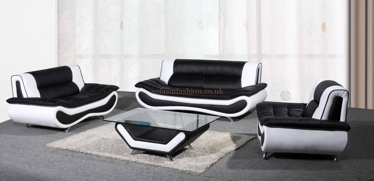 15 Black And White Leather Sofa Set | Carehouse regarding White and Black Sofas (Image 2 of 30)
