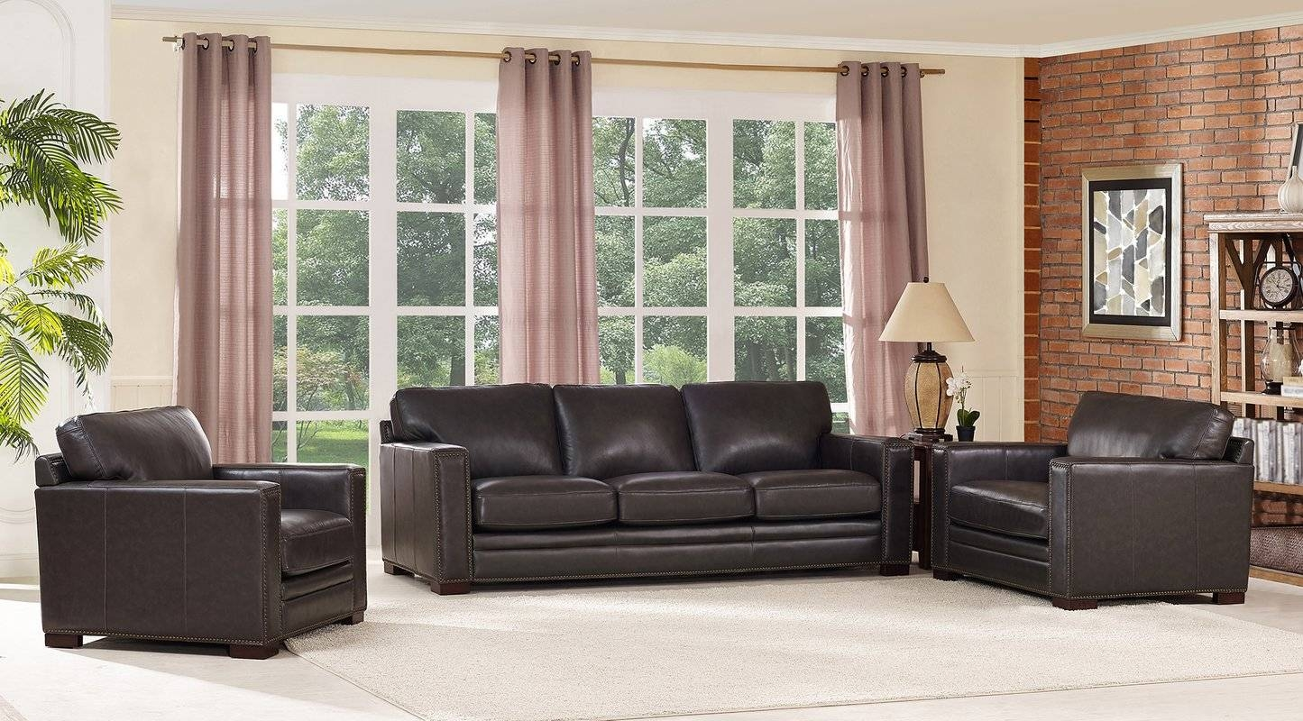 17 Stories Caitlynne Wood Frame Leather Sofa And Chair Set | Wayfair with regard to Sofa And Chair Set (Image 1 of 30)