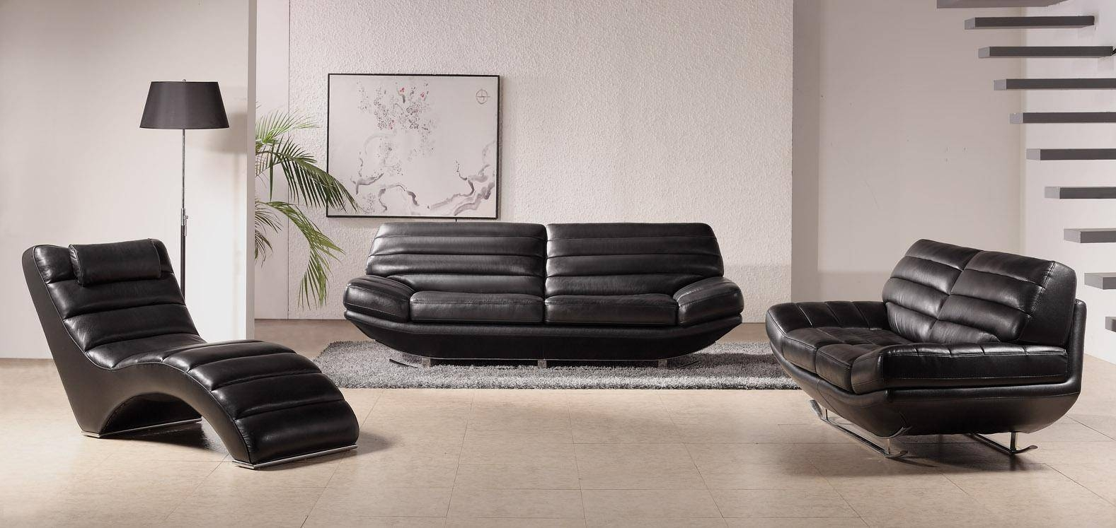 19 Contemporary Leather Sofa Set | Carehouse intended for Contemporary Black Leather Sofas (Image 1 of 30)