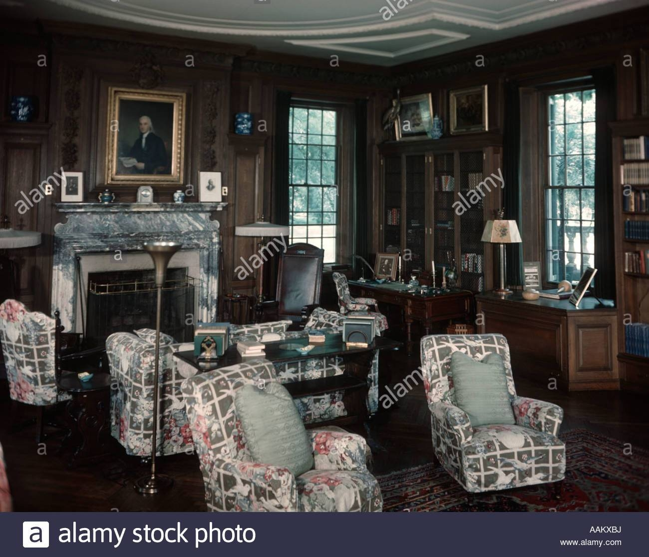 1930S 1940S Interior Of Library Room With Chintz Covered Chairs intended for Chintz Sofas And Chairs (Image 1 of 25)