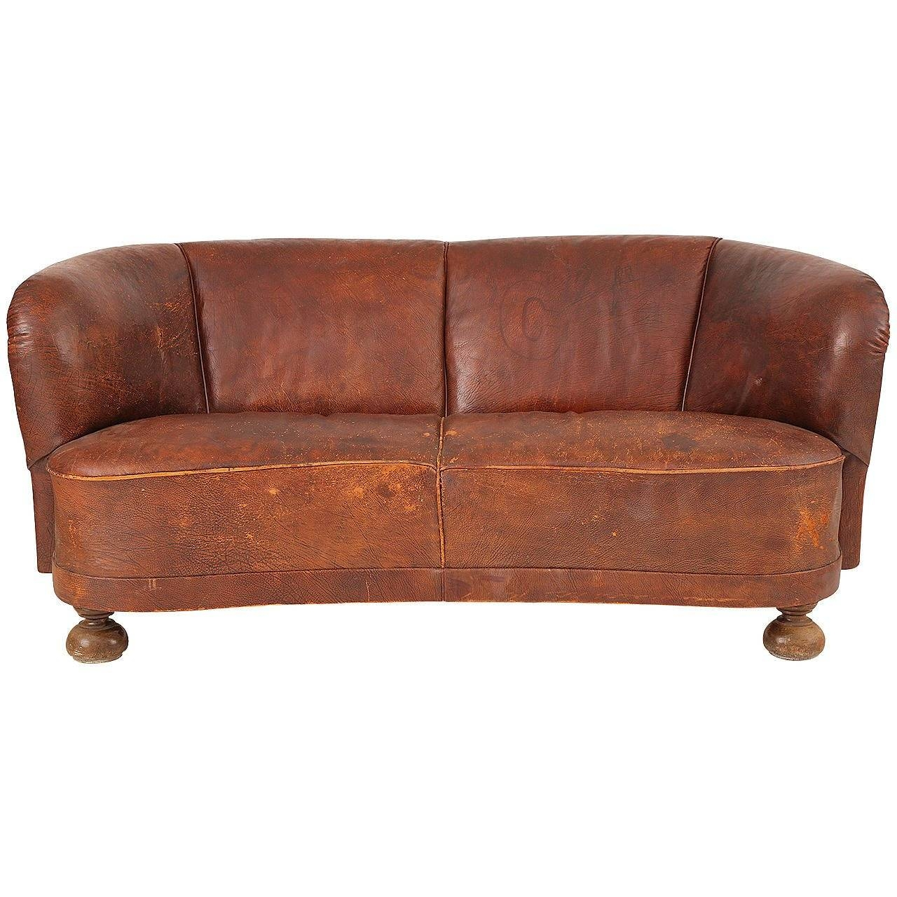 1930S Free-Form Danish Leather Sofa After Flemming Lassen For Sale with 1930S Couch (Image 4 of 30)