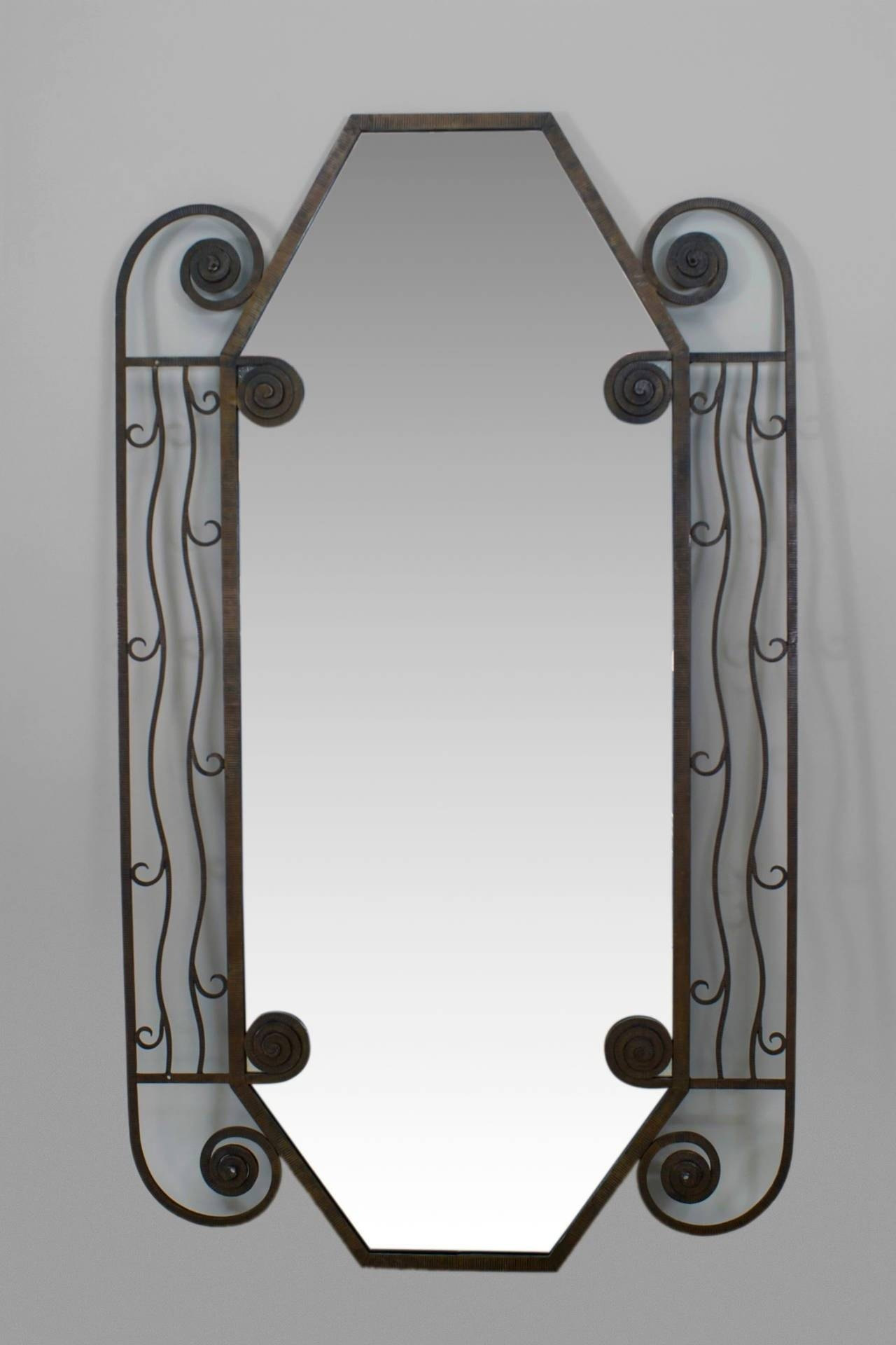 1930's French Art Deco Iron Wall Mirror For Sale At 1Stdibs pertaining to French Wall Mirrors (Image 1 of 25)
