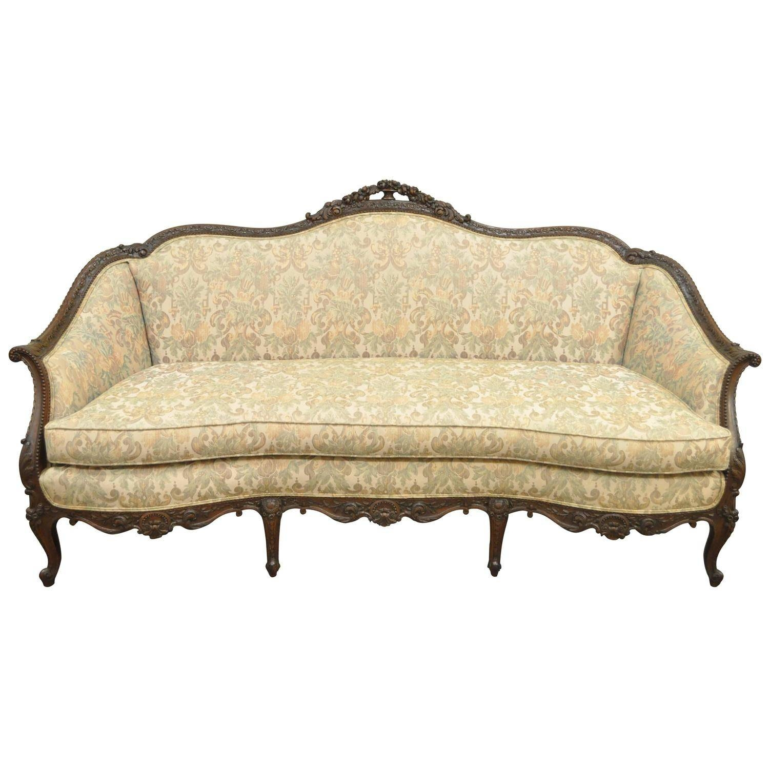 1930S French Louis Xv Hollywood Regency Style Finely Carved pertaining to French Style Sofa (Image 1 of 25)