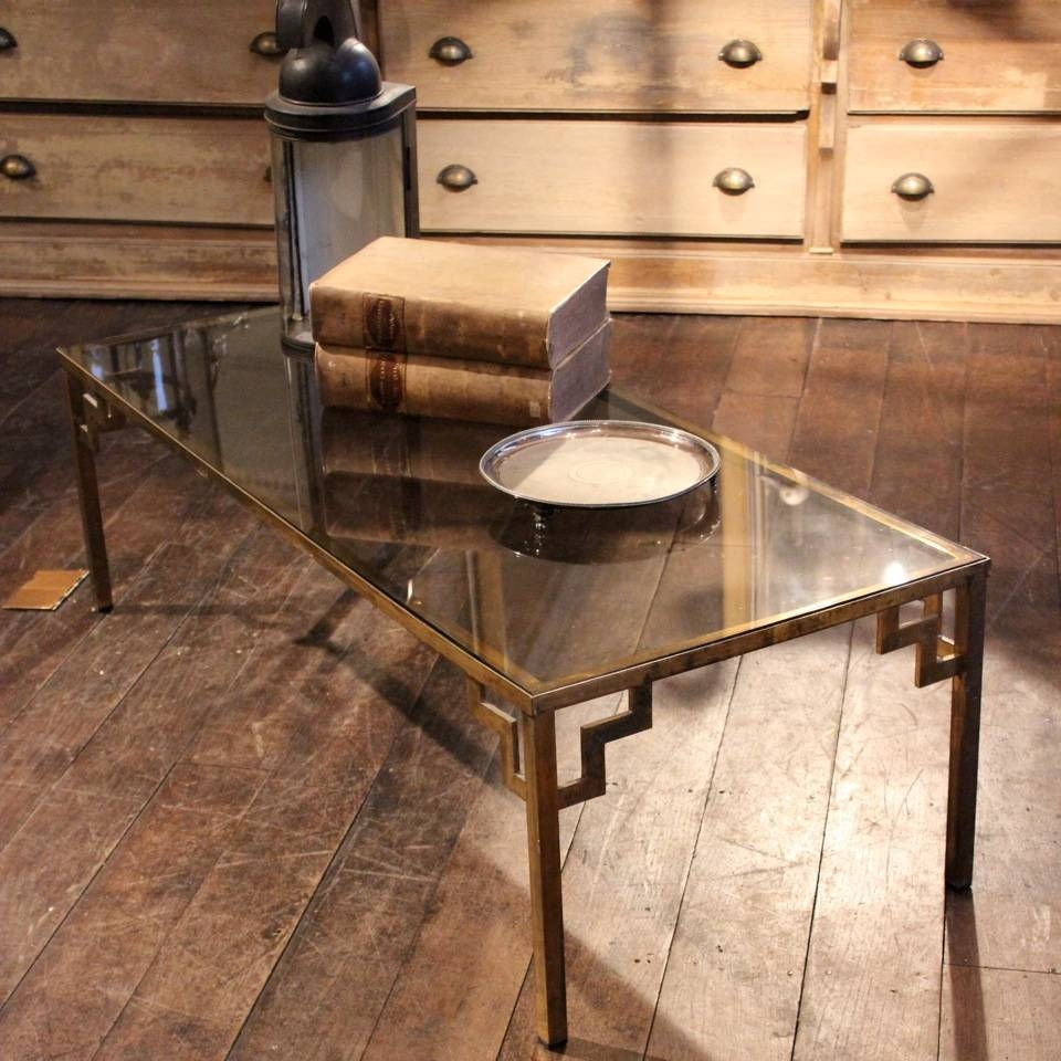 1960S / 70S Brass & Glass Coffee Table - Coffee / Low Tables with Antique Brass Glass Coffee Tables (Image 1 of 37)