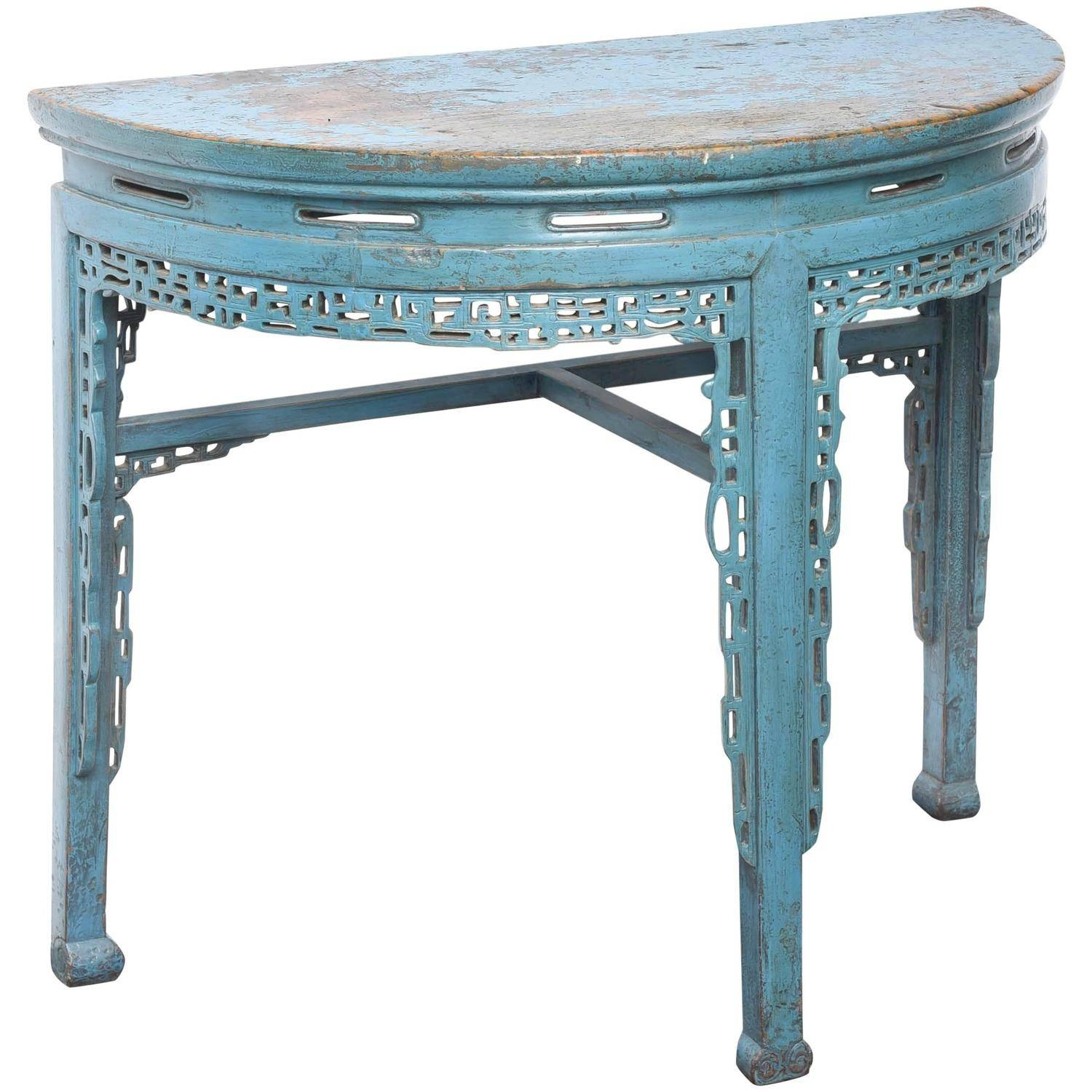 19Th Century Chinese Hand-Painted Half Round Console Table At 1Stdibs with regard to Half Circle Coffee Tables (Image 1 of 30)