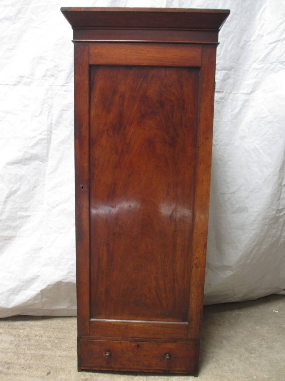 19Th Century Flame Mahogany Single Door Slim Tall Hall Cupboard throughout Antique Single Wardrobes (Image 1 of 15)