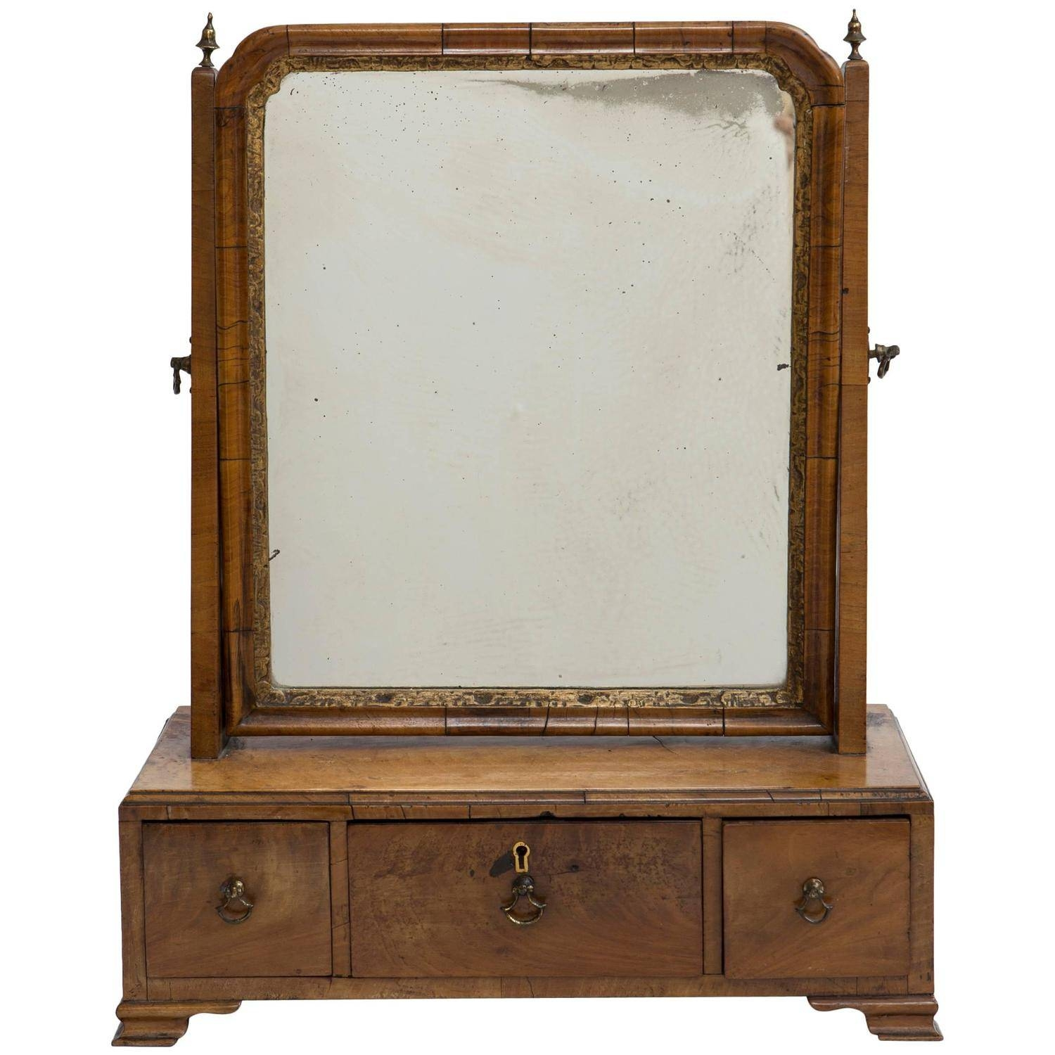 19Th Century Gentleman's Dressing Mirror With Three Drawers For with Dressing Mirrors (Image 1 of 25)