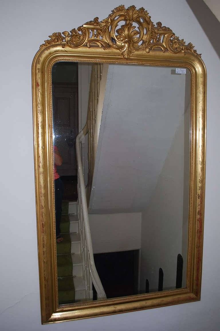 19Th Century Large Gold Gilded Baroque Mirror For Sale At 1Stdibs in Large Baroque Mirrors (Image 1 of 25)