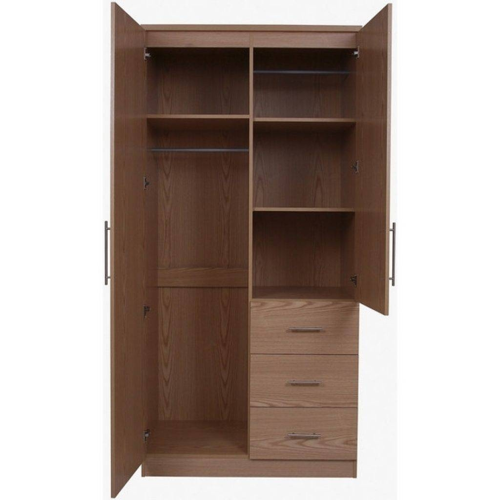 2 Door Wardrobe With Shelves Manhattan 2 Door 3 Drawer Mirrored within Oak Wardrobe With Drawers and Shelves (Image 2 of 30)
