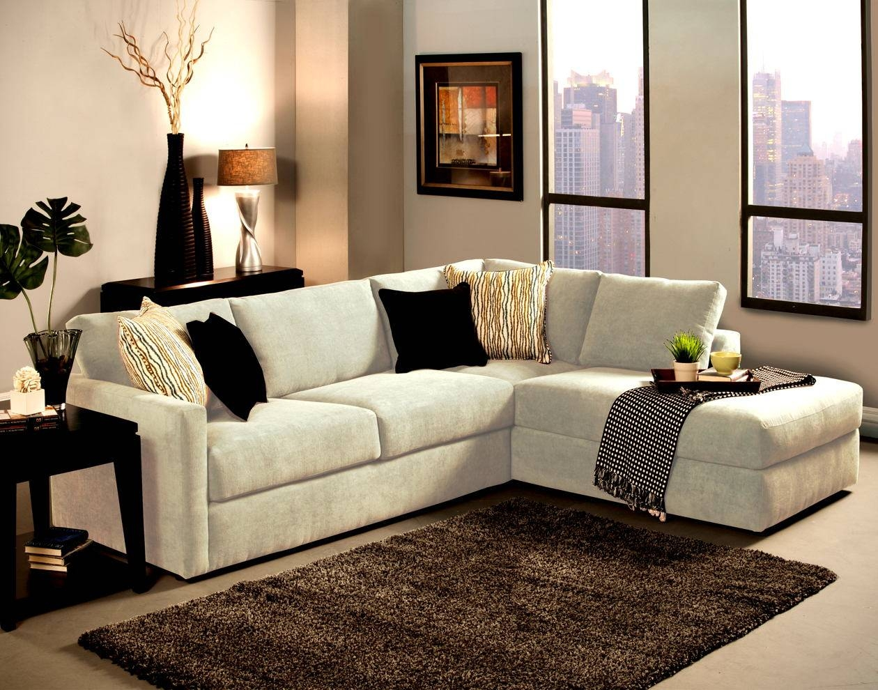 2 Pc Cachet Snow Fabric Inside Sectional Sofa With 2 Chaises (View 1 of 30)