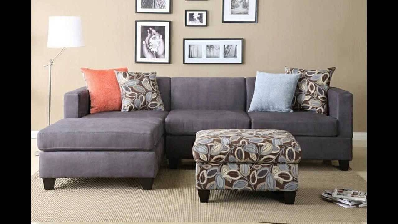 2 Pc Charcoal Microfiber Sectional Sofa With Reversible Chaise in Microsuede Sectional Sofas (Image 1 of 30)