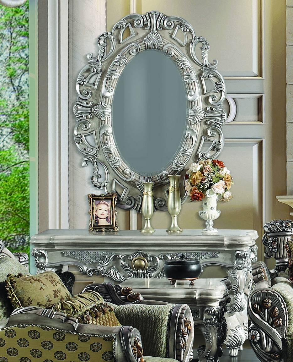 2 Pc Silver Ornate Wall Console Table W/ Oval Wall Hanging Mirror with regard to Large Ornate Silver Mirrors (Image 1 of 25)