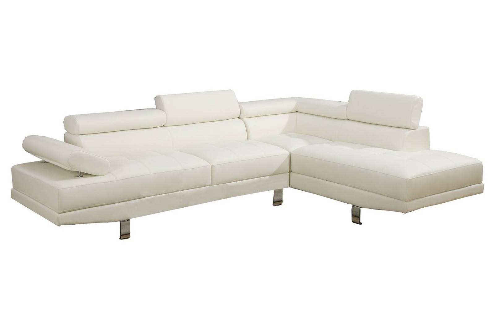 2 Piece Modern Bonded Leather Right Facing Chaise Sectional Sofa With Sectional Sofa With 2 Chaises (View 3 of 30)