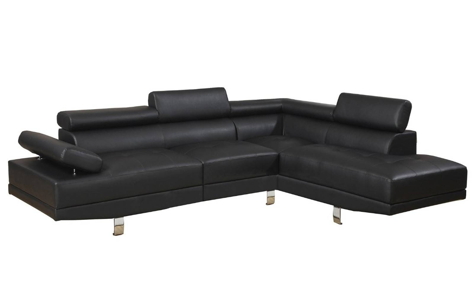 2 Piece Modern Bonded Leather Right Facing Chaise Sectional Sofa Within Sectional Sofa With 2 Chaises (View 4 of 30)