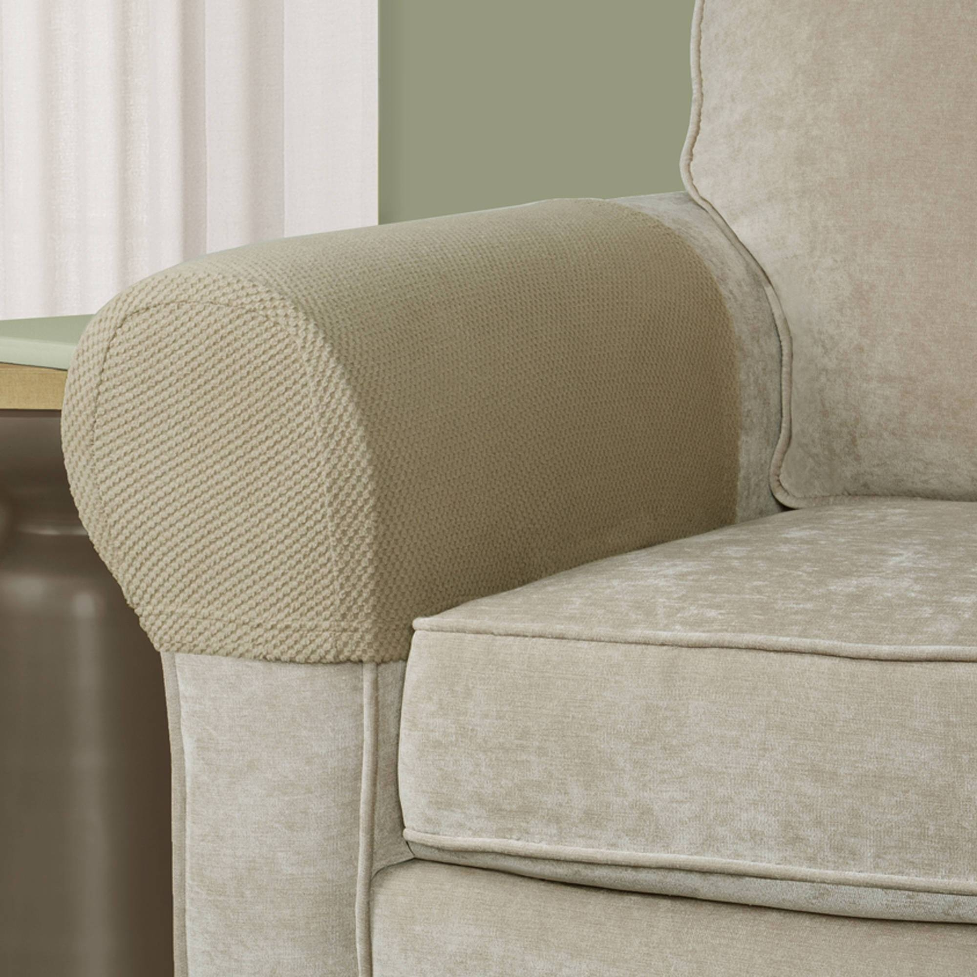 2 Piece White Armrest Covers Stretchy Set Chair Sofa Arm throughout Sofa and Chair Covers (Image 1 of 30)