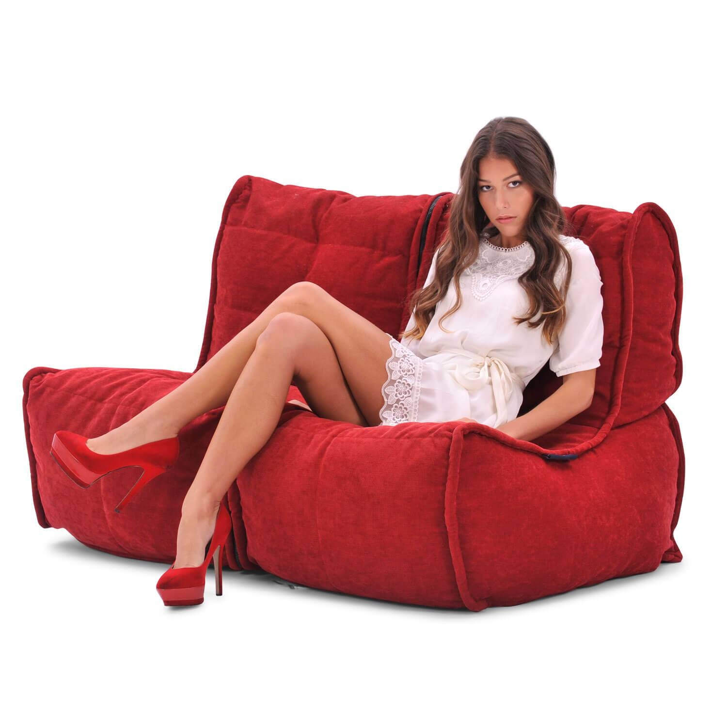 2 Seater Cream Sofa | Designer Bean Bag Couch | Bean Bag New Zealand pertaining to Bean Bag Sofa Chairs (Image 1 of 15)
