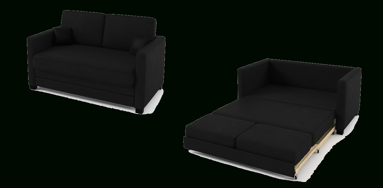 2 Seater Sofa Bed Black Fabric with regard to Black 2 Seater Sofas (Image 1 of 30)
