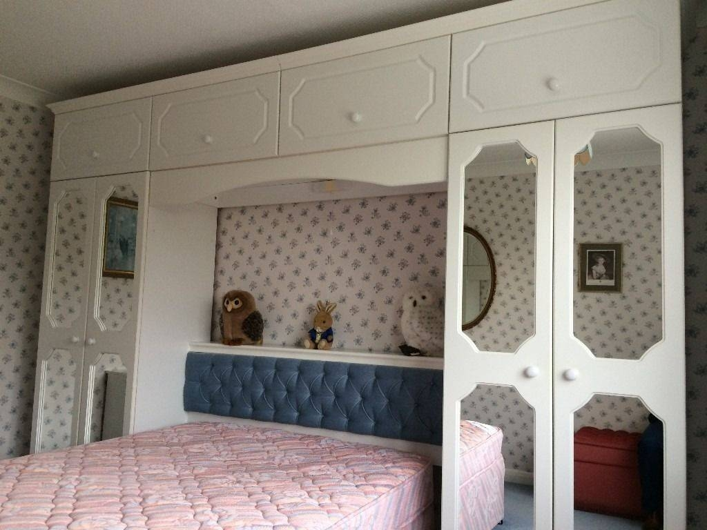 2 White Double Wardrobes, Over Bed Units, Chest Of Drawers With Regard To Over Bed Wardrobes Units (View 1 of 15)