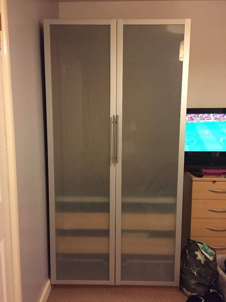 2 X Ikea Double Wardrobes (Wood/frosted Glass&steel) Hanging Rail for Double Rail Wardrobe With Drawers (Image 1 of 30)