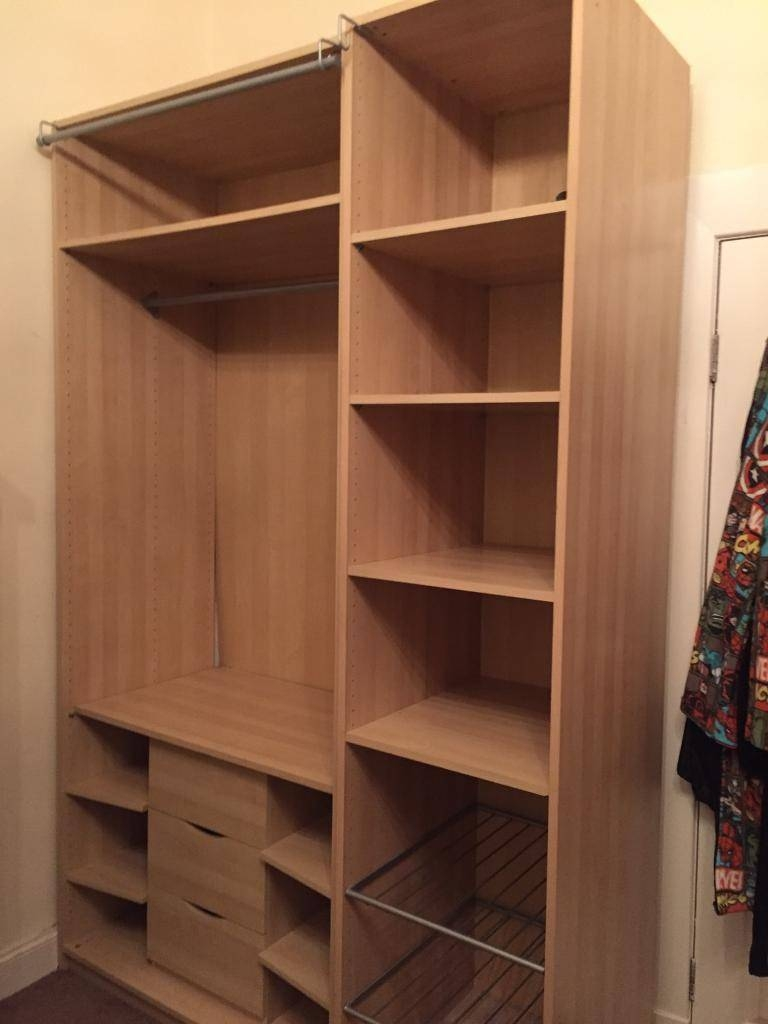 2 X Ikea Tall Bedroom Storage Wardrobes With Clothes Rail, Drawers throughout Wardrobes With Shelves And Drawers (Image 1 of 30)