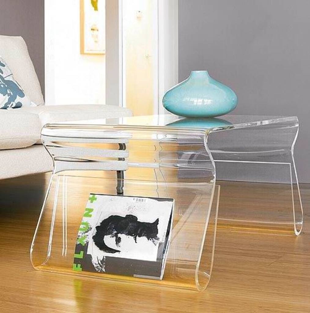 20 Amazing Acrylic Furniture To Maximize Your Space intended for Acrylic Coffee Tables With Magazine Rack (Image 1 of 30)