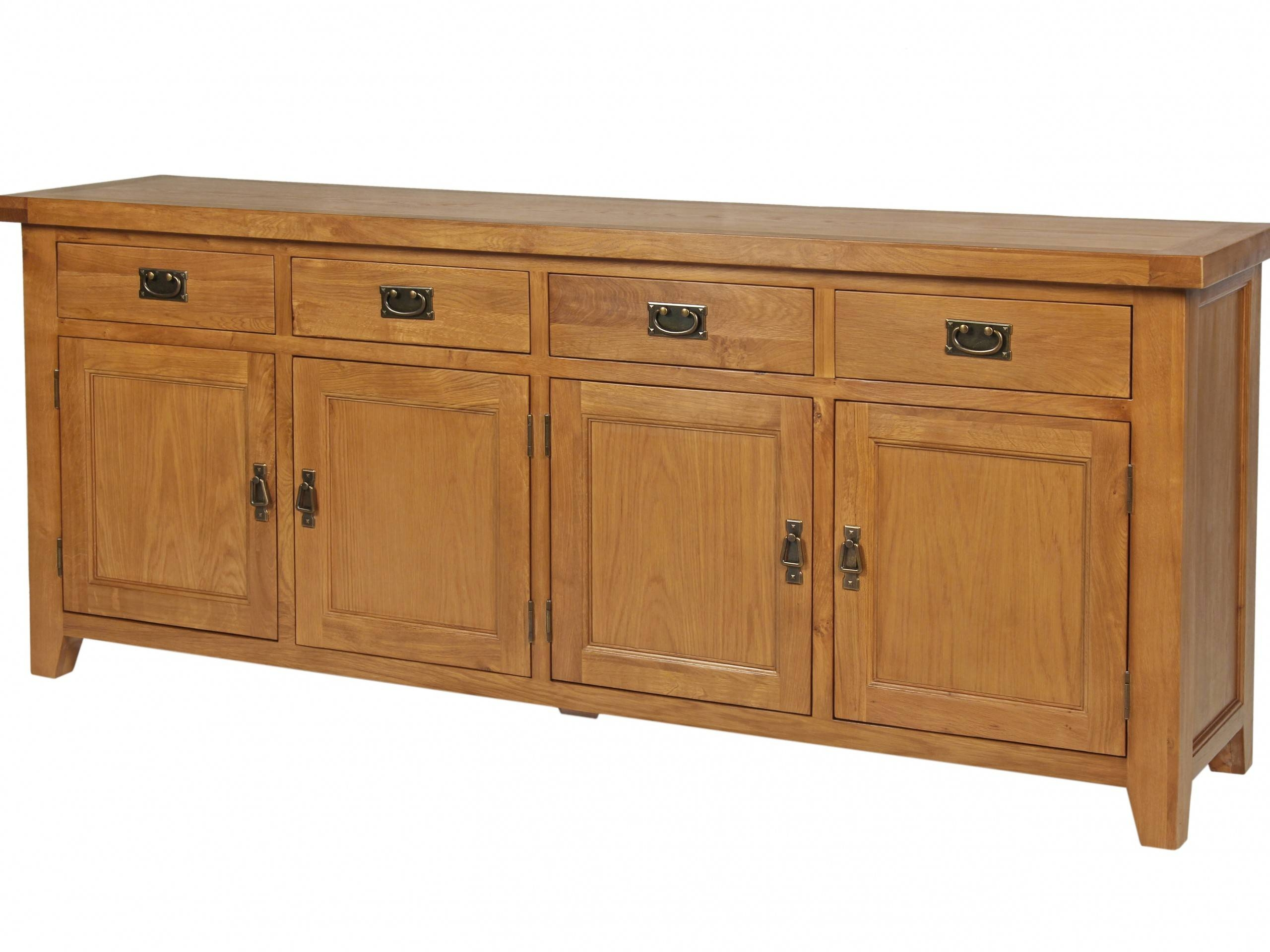 200Cm Large Country Oak Sideboard | Large Oak Sideboard Regarding Oak Sideboards For Sale (View 1 of 30)