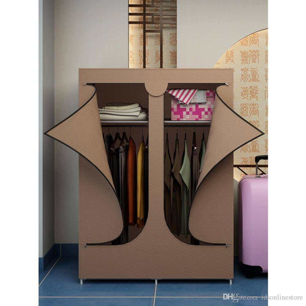 2017 Bedroom Furniture Bilateral Portable Canvas Fabric Diy Self Throughout Self Assembly Wardrobes (View 1 of 15)