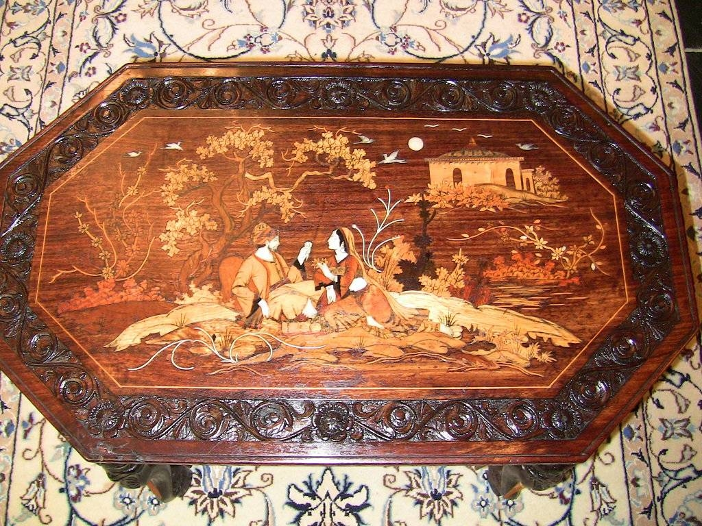 20C Indian Inlaid Elephant Leg Coffee Table - Rockwell Antiques Dallas in Indian Coffee Tables (Image 1 of 30)