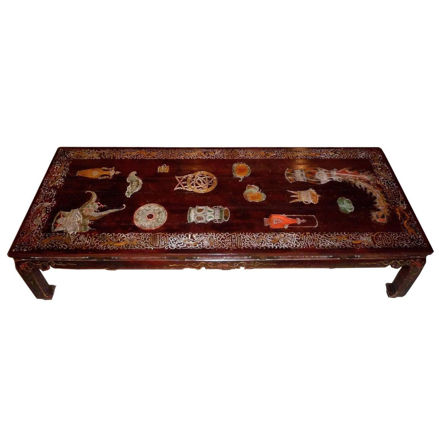 20Th Century French Coffee Table, The Top Tray In Chinese regarding Lacquer Coffee Tables (Image 3 of 30)