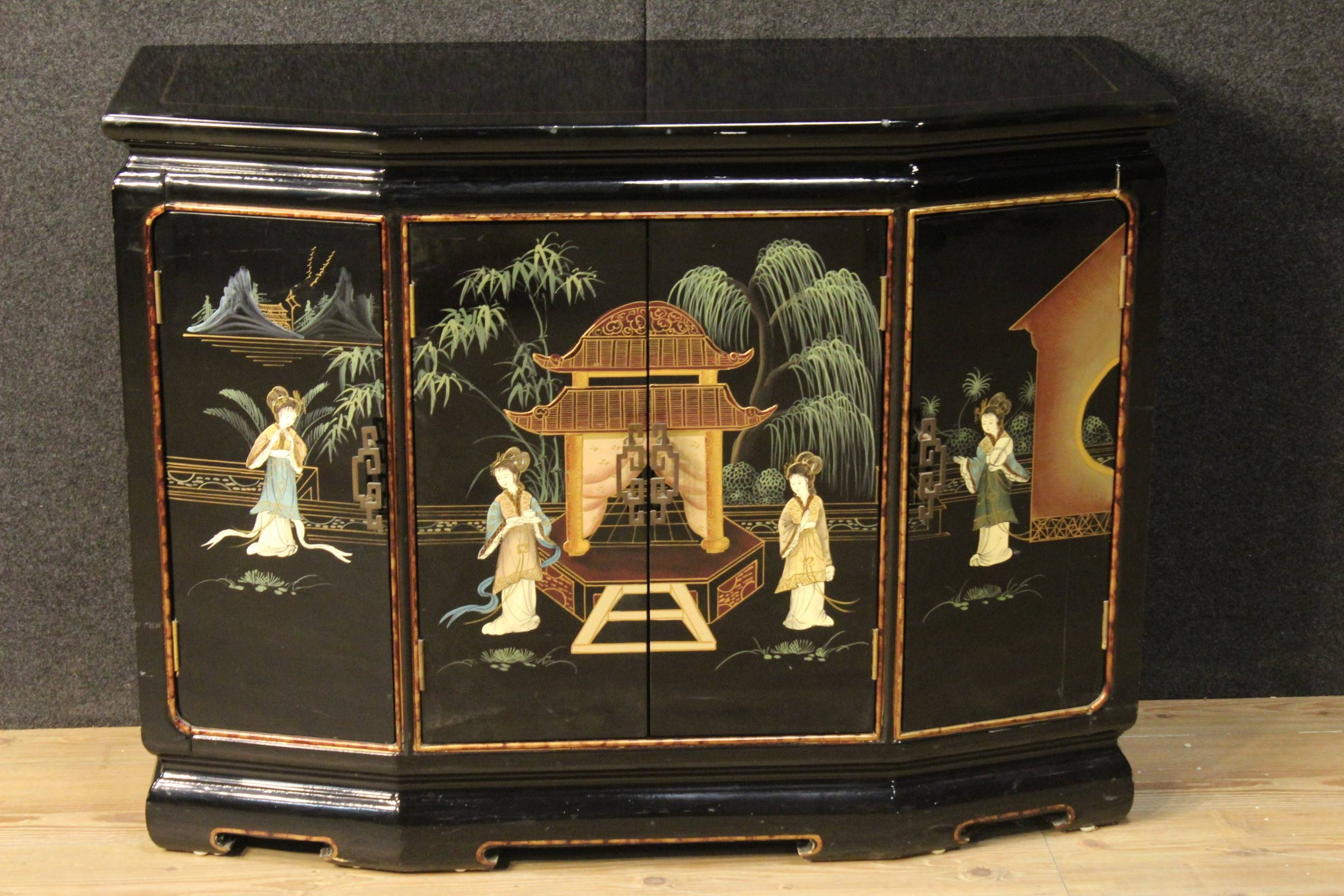 20Th Century French Lacquered And Painted Chinoiserie Sideboard (C pertaining to Chinoiserie Sideboards (Image 4 of 30)