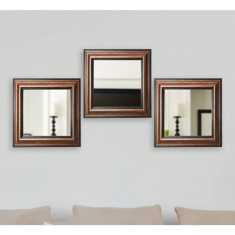 23 In. X 12 In. Rustic Square Wooden White Wall Mirrors With intended for Square Wall Mirrors (Image 2 of 25)