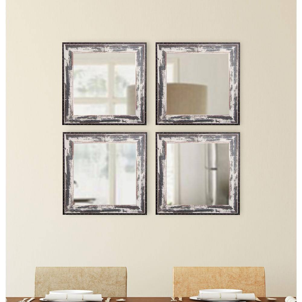 23 In. X 12 In. Rustic Square Wooden White Wall Mirrors With throughout Square Wall Mirrors (Image 3 of 25)