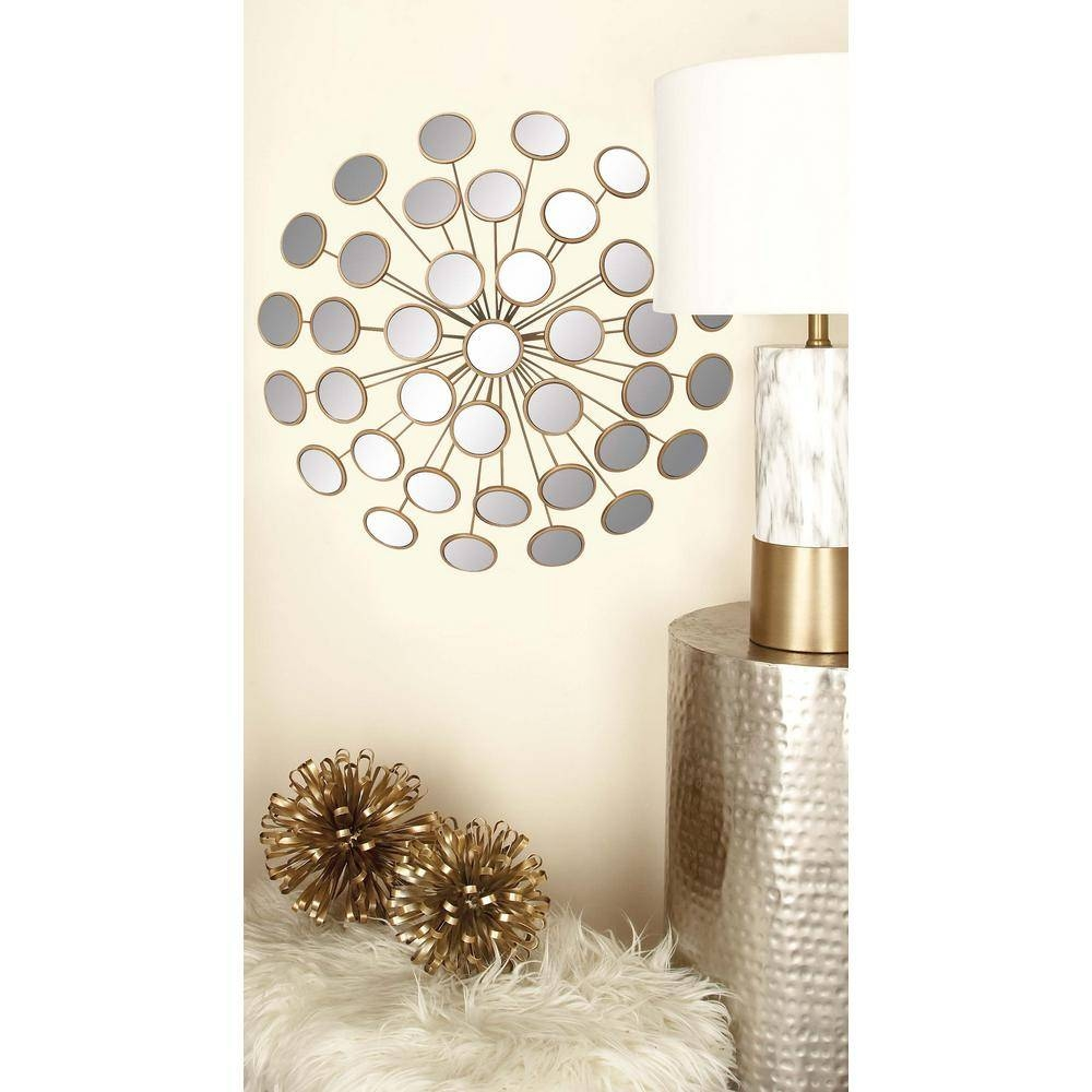 24 In. Modern Gold Round Glass Mirrors Wall Decor-48652 - The Home within Modern Gold Mirrors (Image 4 of 25)