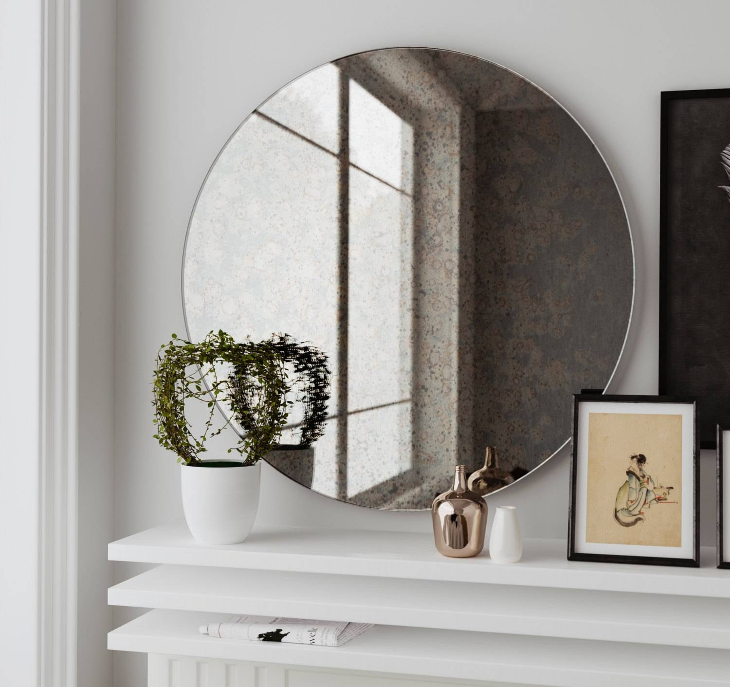 29 Antique Mirror With Cloudy Pattern. Custom Hand Made throughout Antiqued Mirrors (Image 1 of 25)