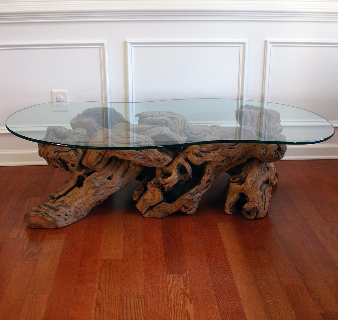 29 Incredible Driftwood Coffee Tables inside Dark Wood Coffee Tables With Glass Top (Image 1 of 30)