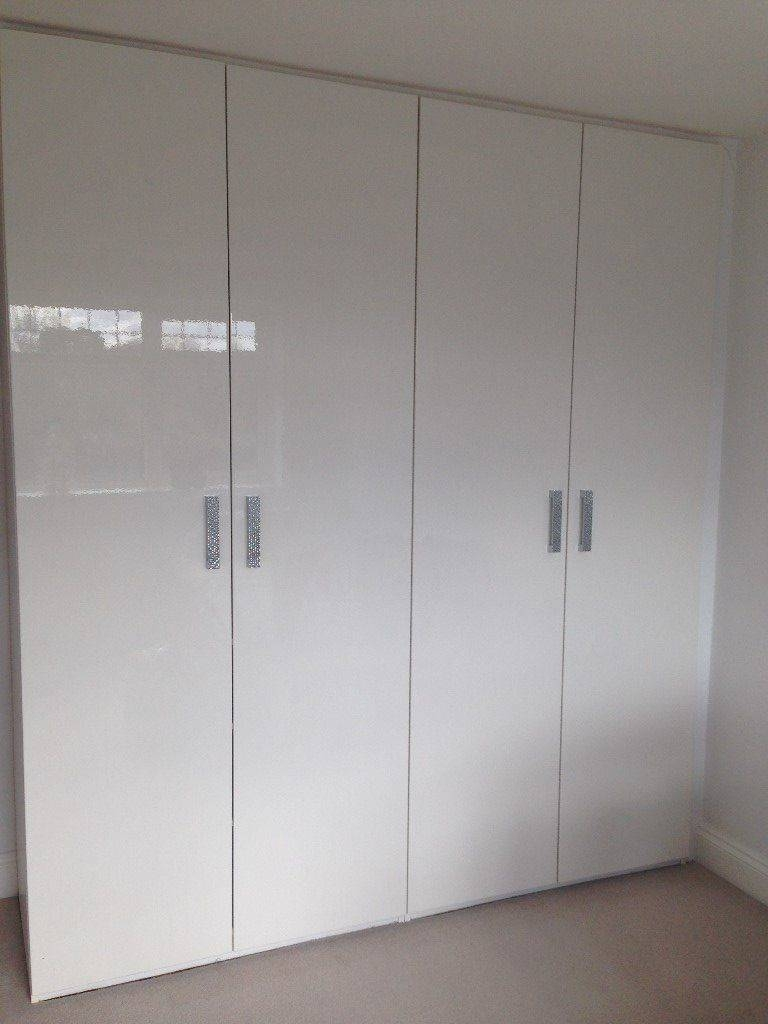 2X Double Door High Gloss White Ikea Wardrobes | In Cheshunt pertaining to High Gloss Doors Wardrobes (Image 1 of 15)