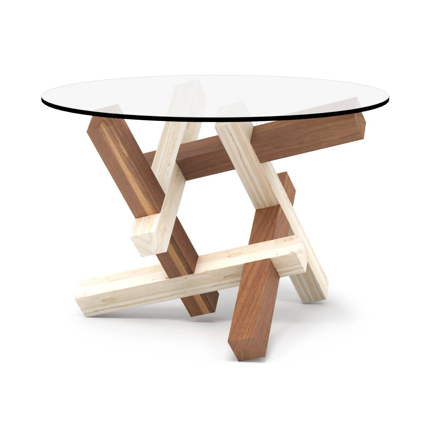 2X3 Round Wooden Coffee Table Puzzle Round Glass Table with Puzzle Coffee Tables (Image 3 of 30)