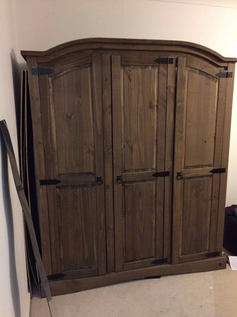 3 Door Dark Wooden Wardrobe - 6 Months Old From Argos £100 Ono throughout Dark Wood Wardrobes (Image 4 of 30)