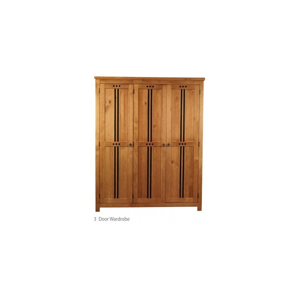 3 Door Pine Wooden Wardrobe Oak Finish With Regard To Pine Wardrobes (Photo 4 of 15)