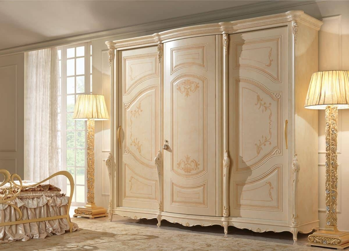3 Door Wardrobe, Hand Painting, In Classic Style | Idfdesign for Baroque Wardrobes (Image 1 of 15)