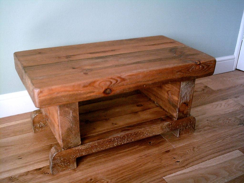 3 Inch Thick Chunky Rustic Coffee Table With Shelf | In Stirling intended for Chunky Rustic Coffee Tables (Image 1 of 30)