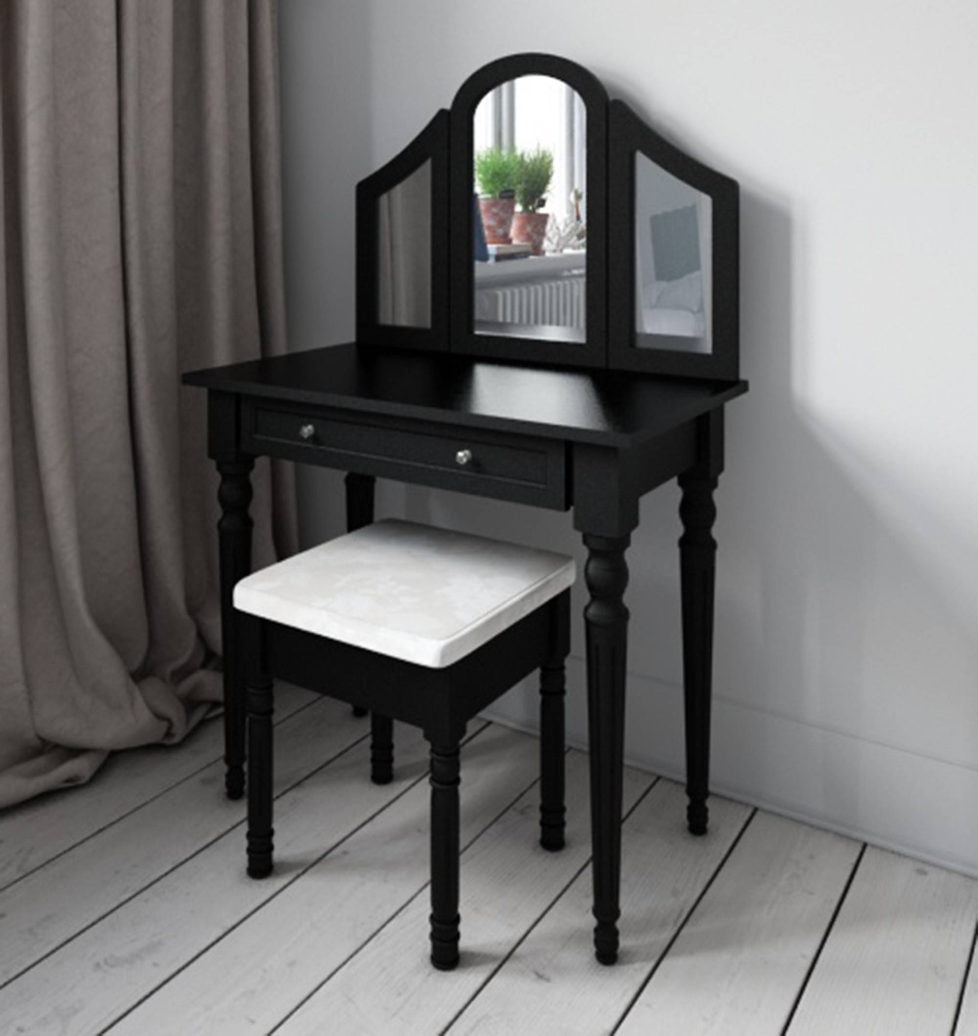 3 Mirrored Black Dressing Table From Abreo Abreo Home Furniture With Black Dressing Mirrors (Photo 8 of 25)