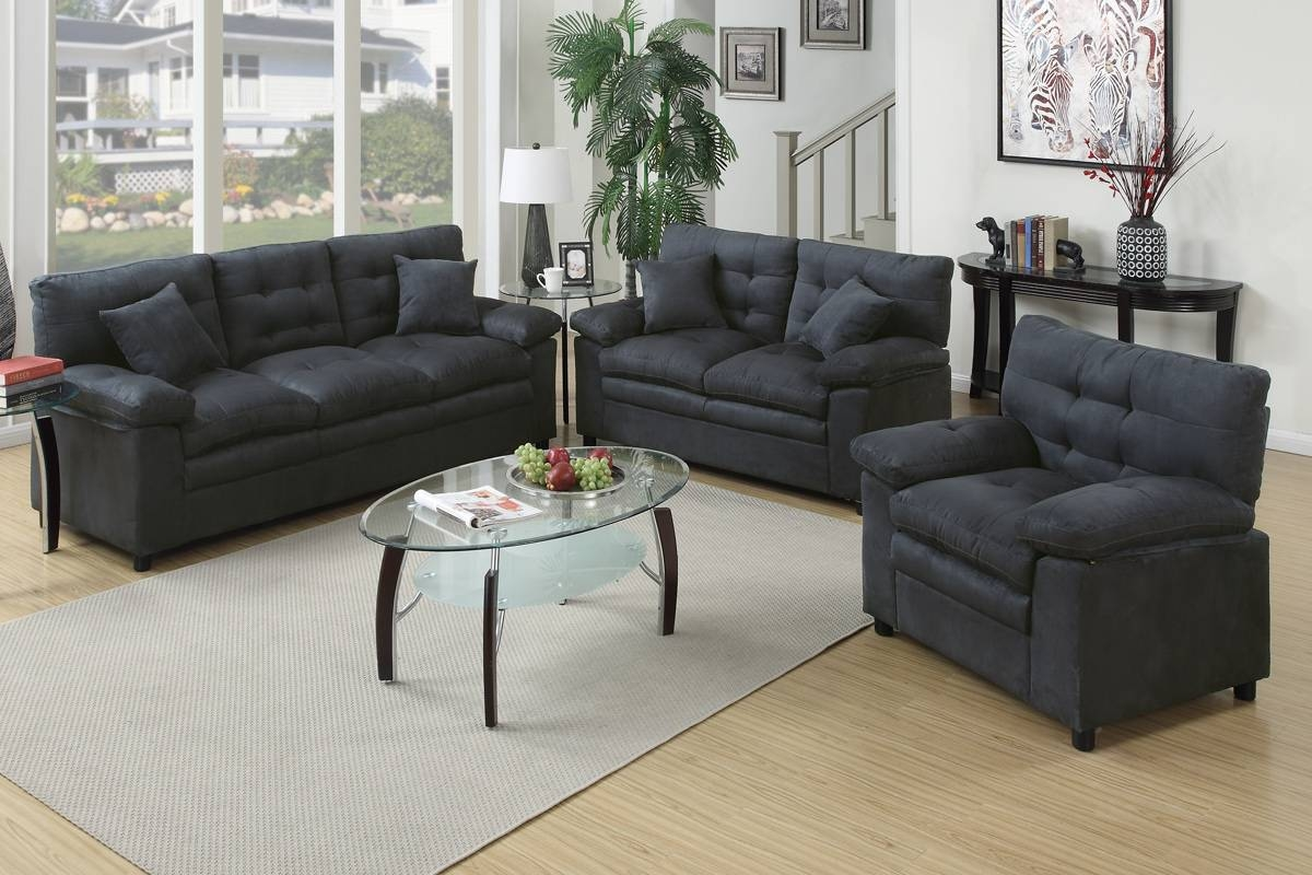 3 Pcs Sofa Set F7908 Color Chocolate – Furniture Mattress Los Within Sofa Loveseat And Chair Set (View 1 of 30)