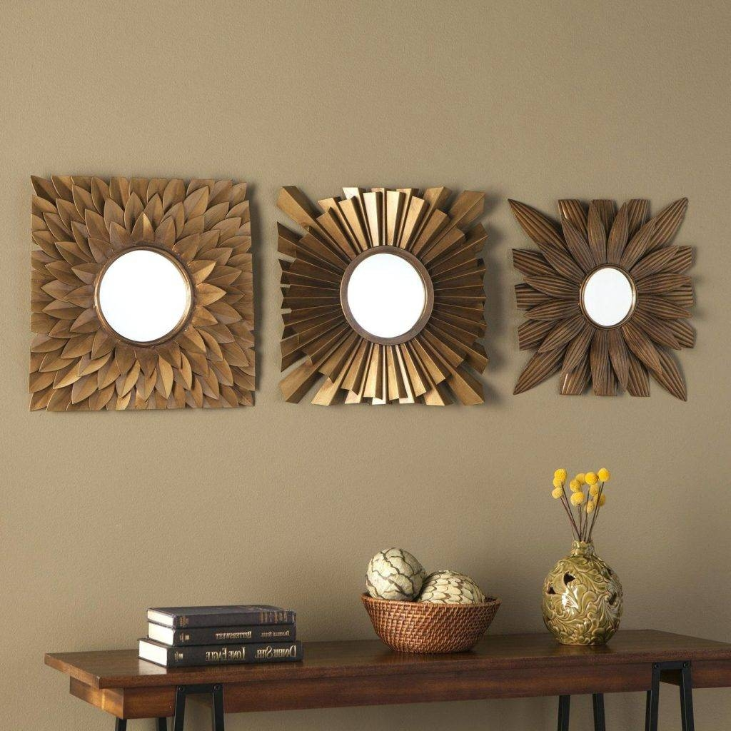 3 Piece Antique Gold Decorative Mirror Setsunburst Mirrors (Set Of pertaining to Antique Gold Mirrors (Image 3 of 25)